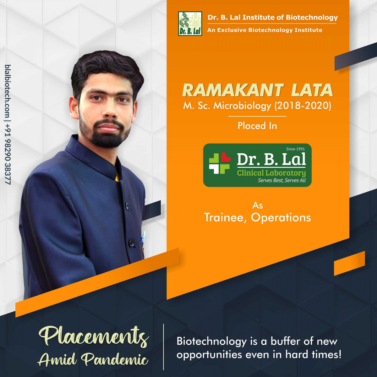 Ramakant Lata   Placements Amid Pandemic   Dr. B. Lal Institute of Biotechnology