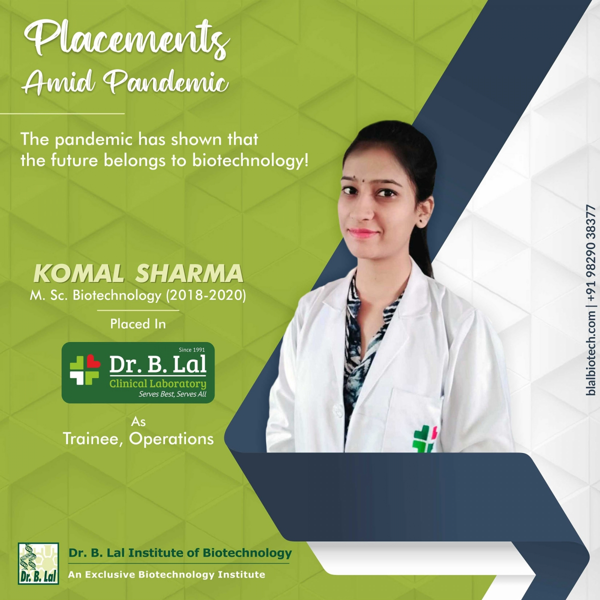 Komal Sharma   Placements Amid Pandemic   Dr. B. Lal Institute of Biotechnology