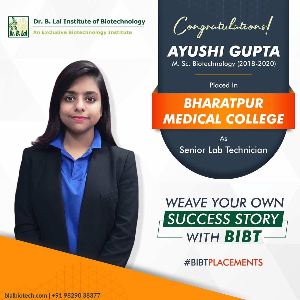 Placements 2020   Dr. B. Lal Institute of Biotechnology
