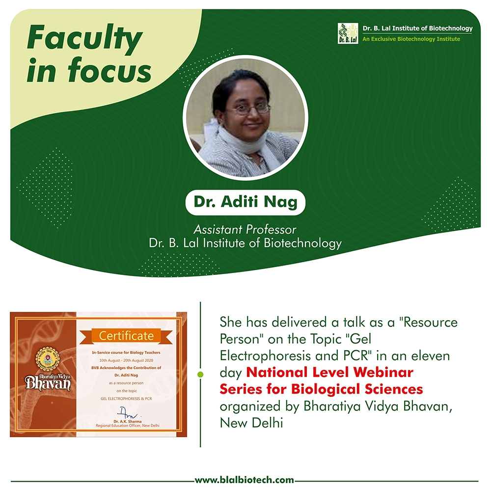 Dr. Aditi Nag at national level webinar series organized by Bharatiya Vidya Bhavan, New Delhi