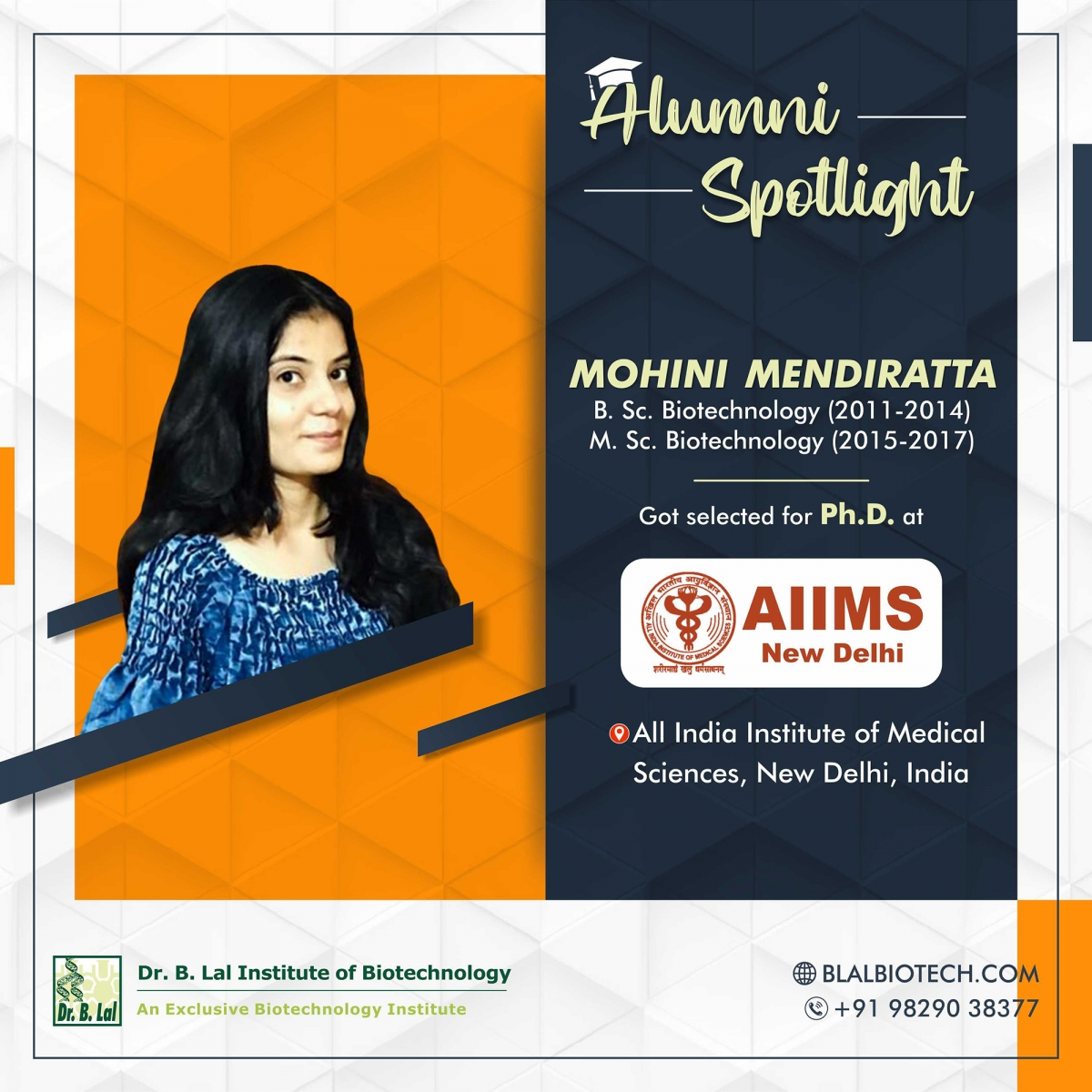 Ms. Mohini Mendiratta | Selected for Ph.D. at All India Institute of Medical Sciences, New Delhi