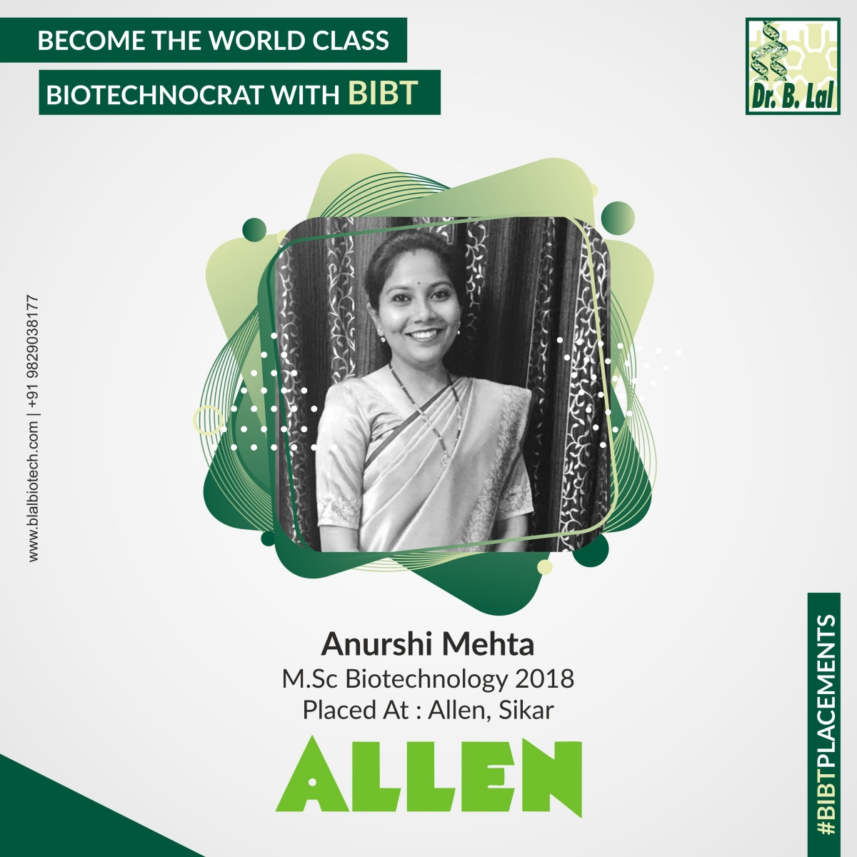 Anurshi Mehta, M.Sc. Biotechnology 2018 | #BIBTPlacements