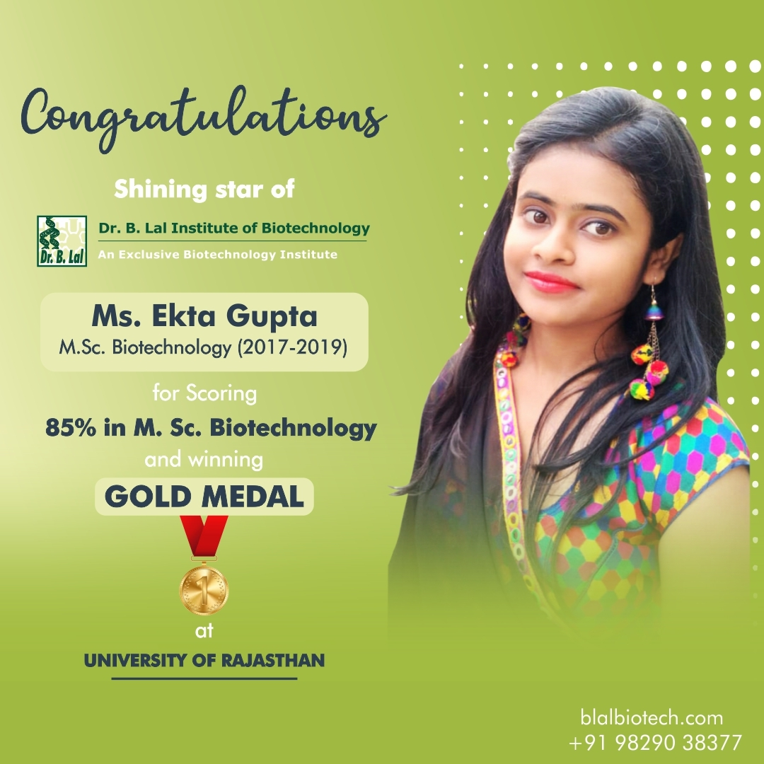 Gold Medalists at Rajasthan University from Dr. B. Lal Institute of Biotechnology