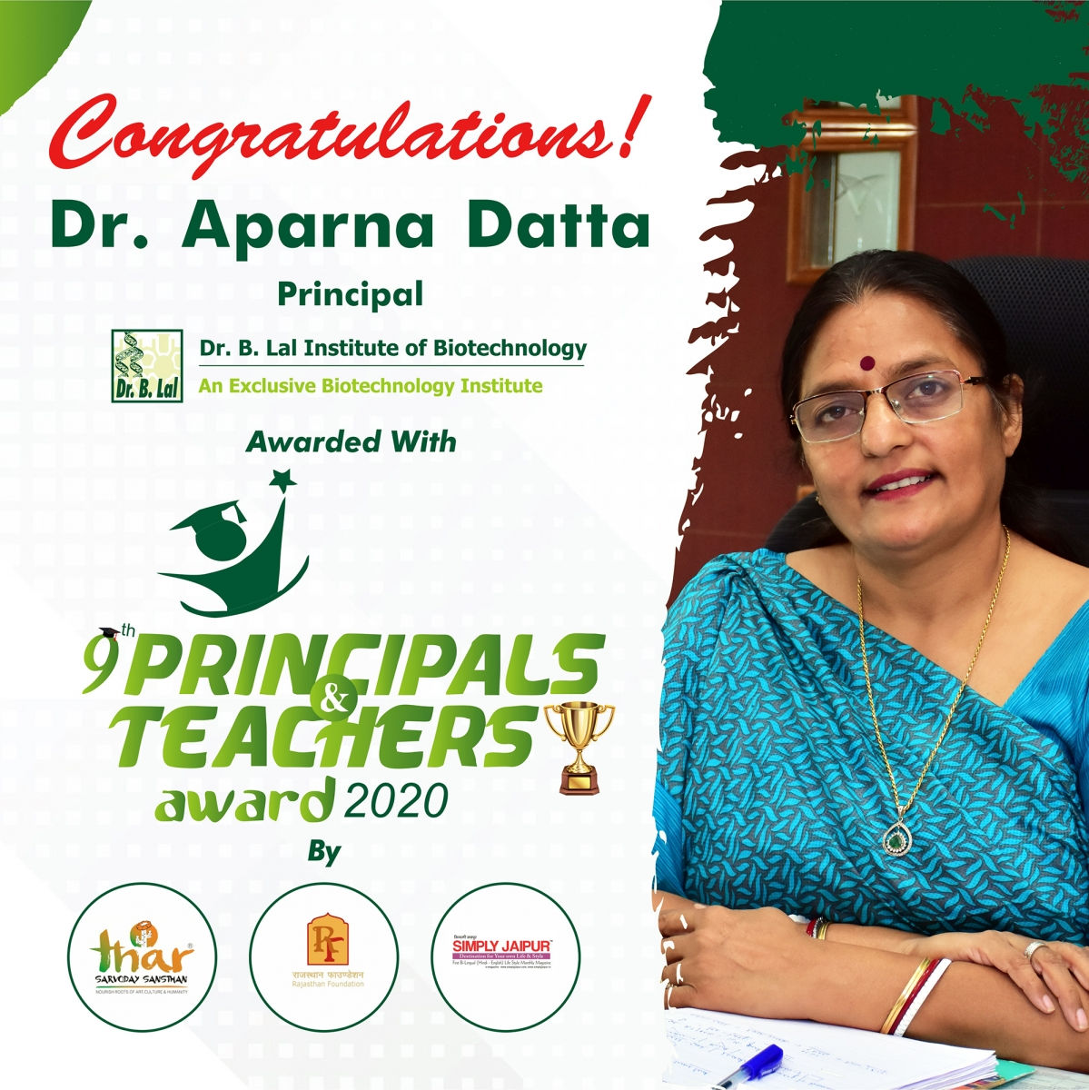 Dr. Aparna Datta, Principal, Dr. B. Lal Institute of Biotechnology | 9th Principals & Teachers Award 2020