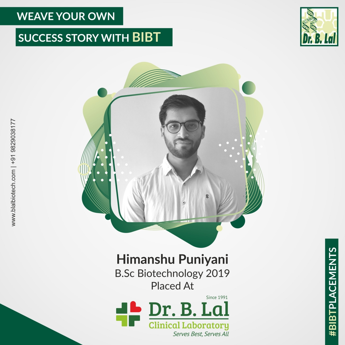 Himanshu Puniyani, B.Sc. Biotechnology 2019 | #BIBTPlacements