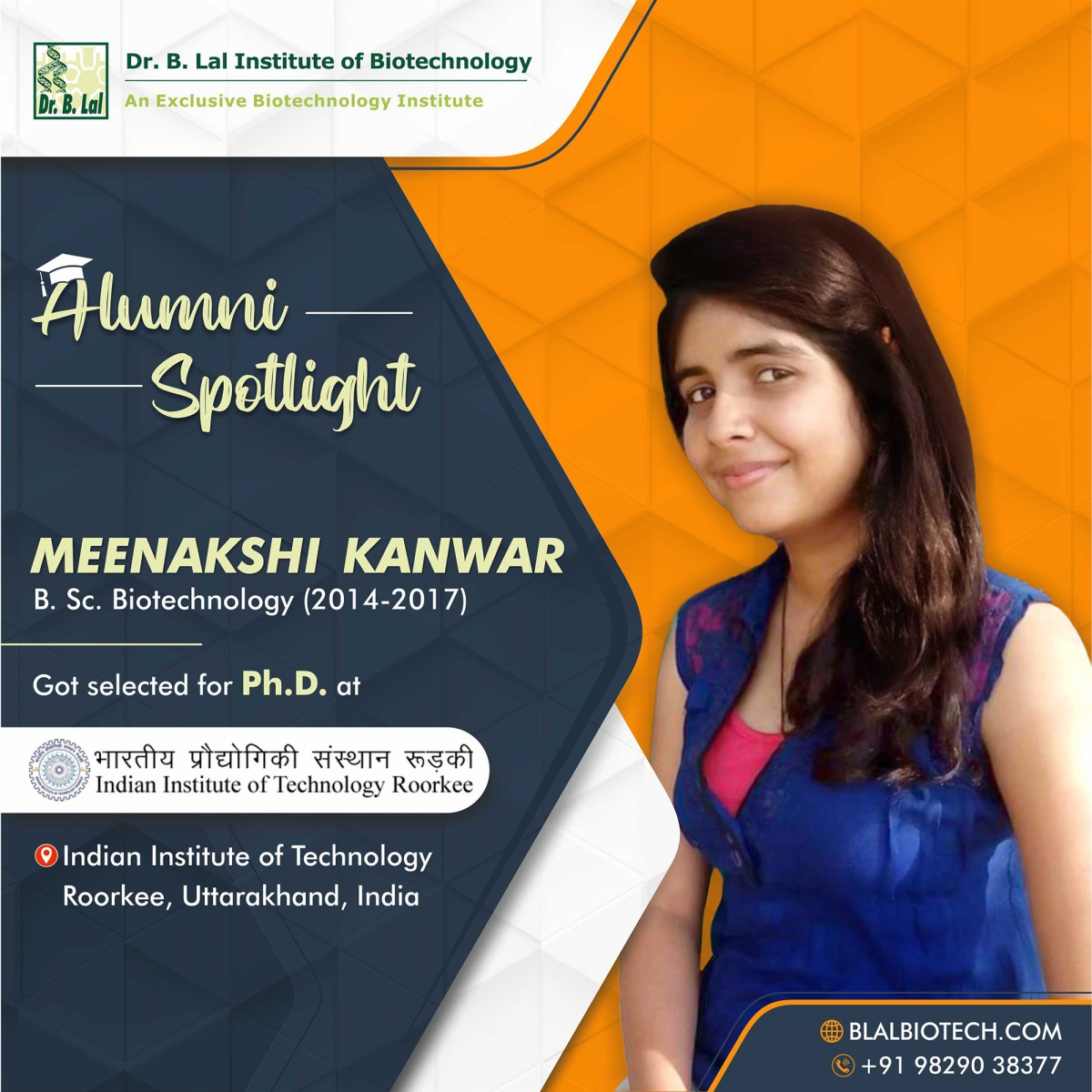 Ms. Meenakshi Kanwar | Selected for Ph.D. at IIT Roorkee