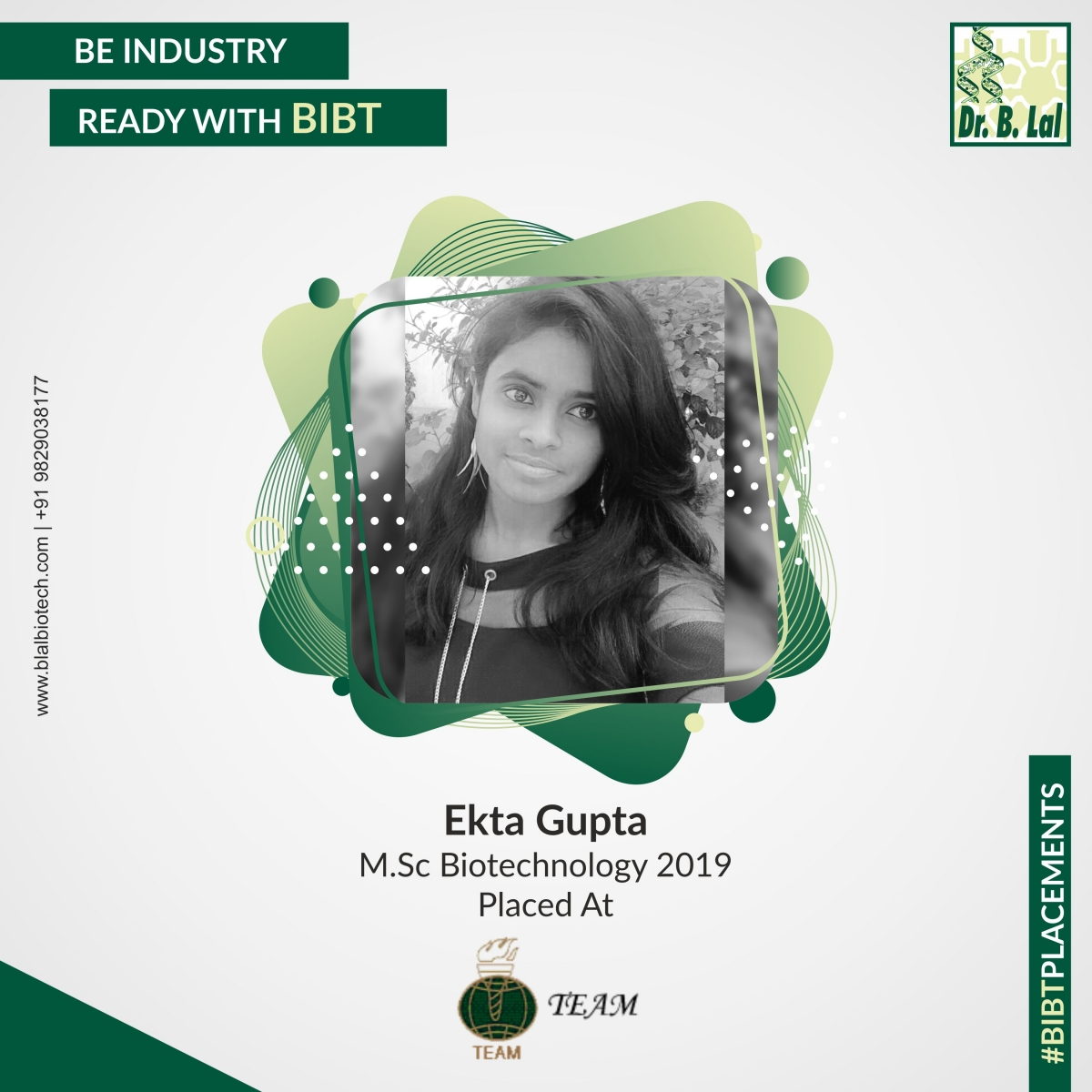 Ekta Gupta, M.Sc. Biotechnology 2019 | #BIBTPlacements