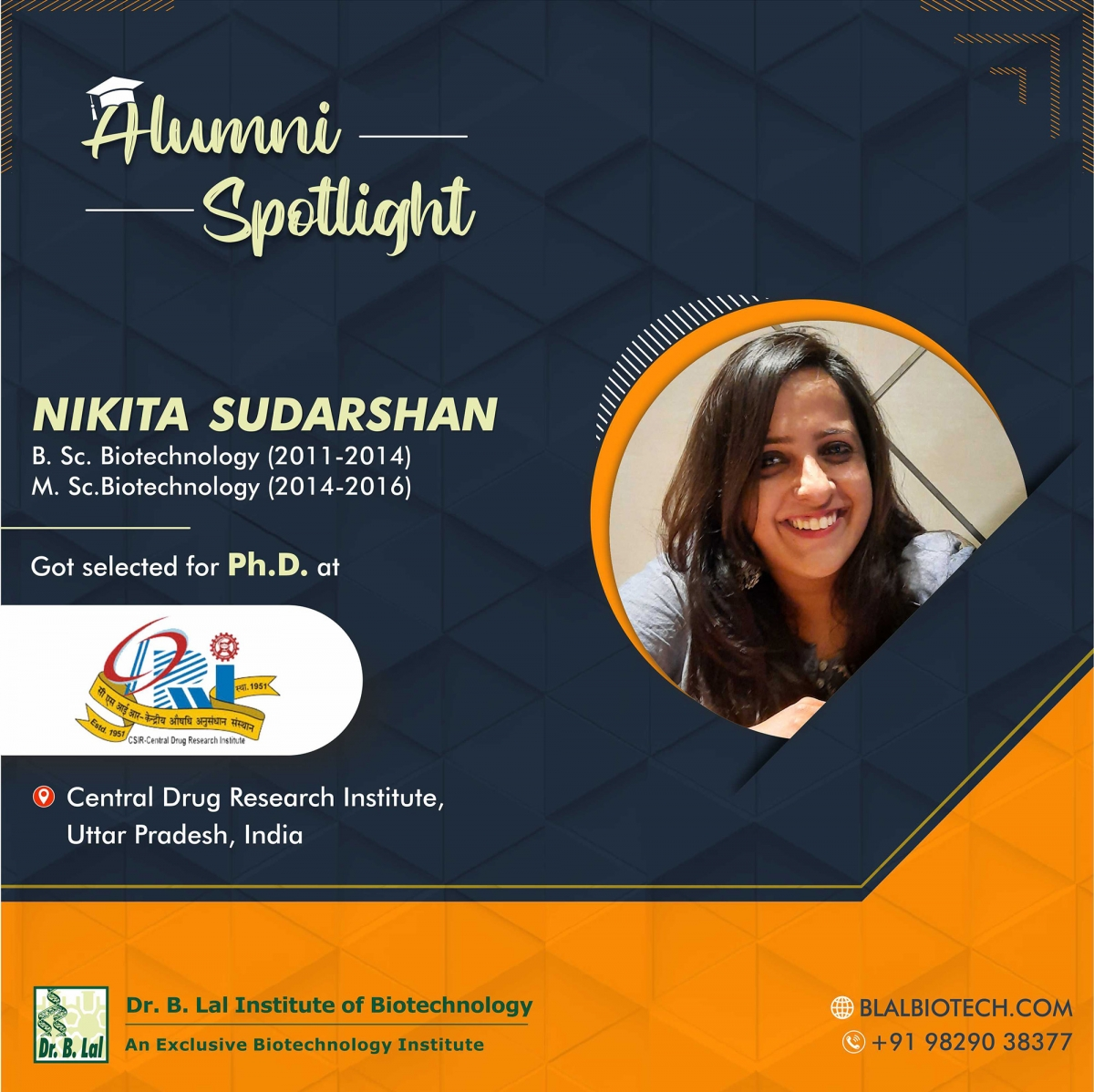 Ms. Nikita Sudarshan | Selected for Ph.D. at Central Drug Research Institute