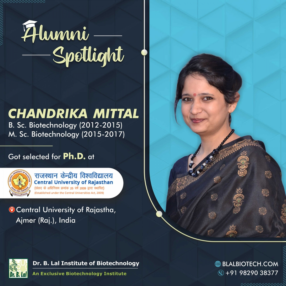 Ms. Chandrika Mittal | Selected for Ph.D. at Central University of Rajasthan, Ajmer
