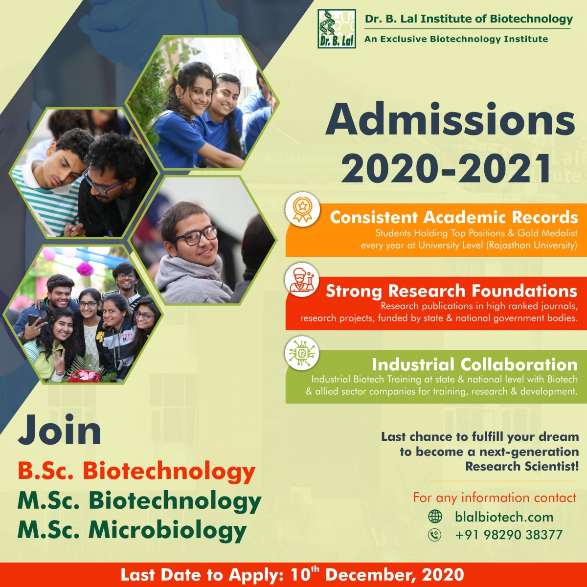 Admissions 2020-21 Closing (Last Date: 10th Dec) | blalbiotech.com