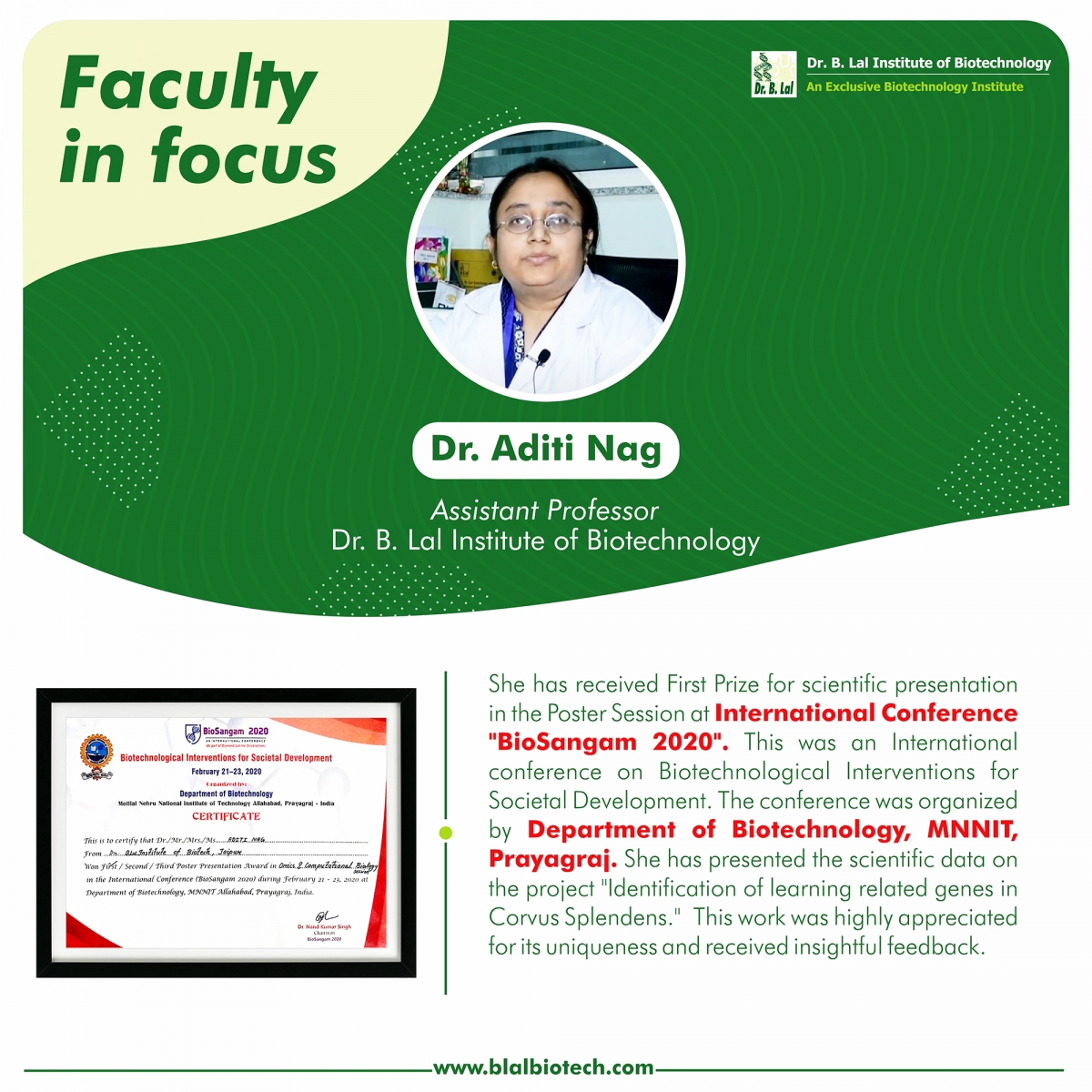 Dr. Aditi Nag at International Conference