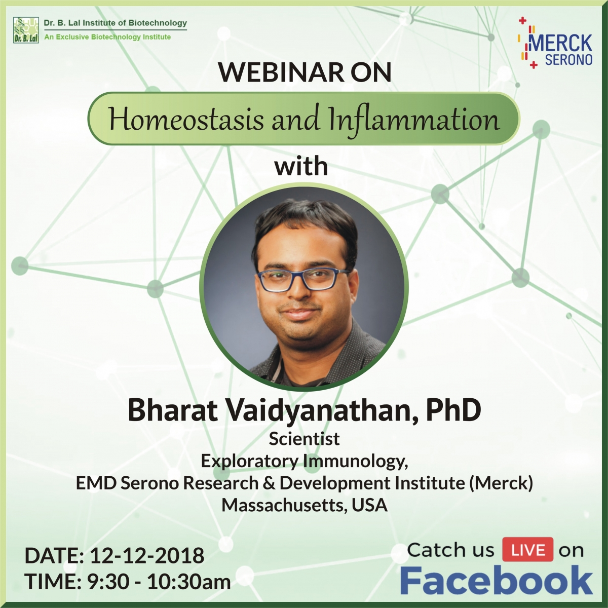 "Webinar ""Homeostasis and Inflammation"" by Dr. Bharat Vaidyanathan"