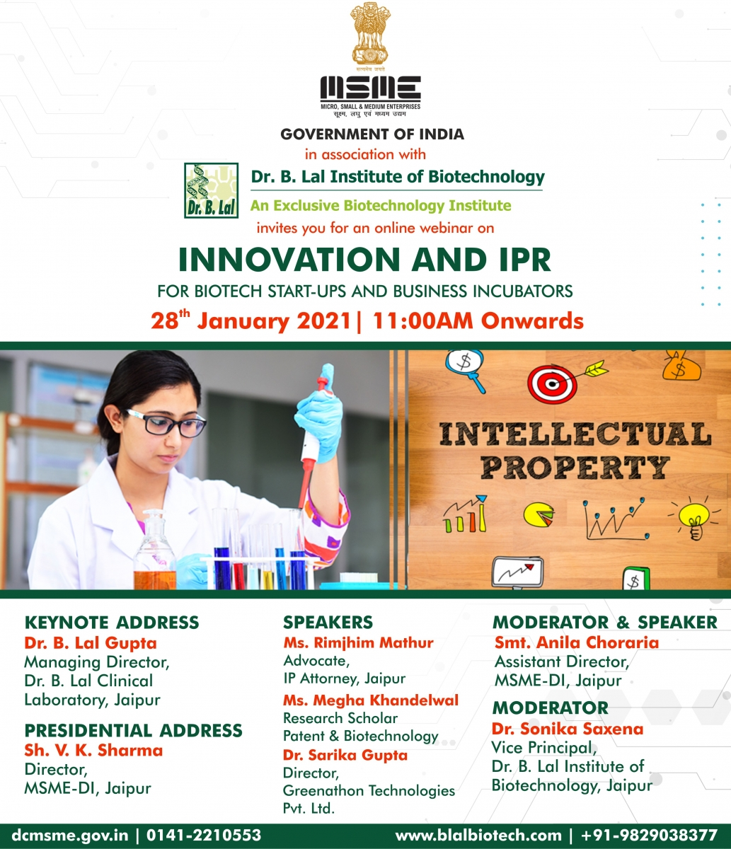 Online Webinar | Innovation and IPR for Biotech Start-ups and Business Incubators