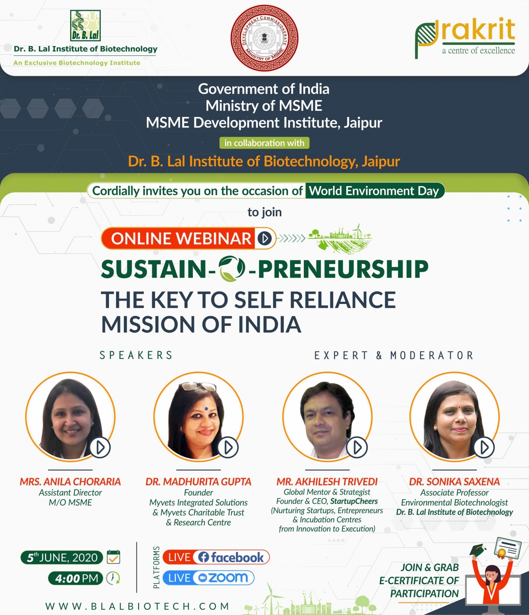 Online Webinar   SUSTAIN-O-PRENEURSHIP: The Key to Self Reliance Mission of India   Dr. B. Lal Institute of Biotechnology, Jaipur