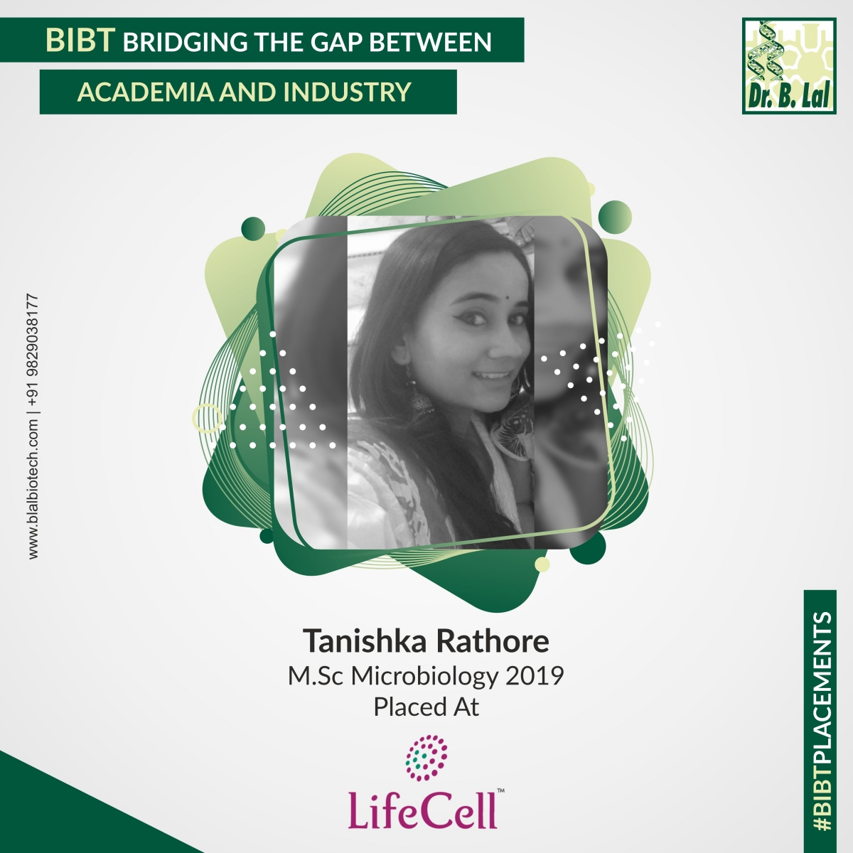 Tanishka Rathore, M.Sc. Microbiology 2019 | #BIBTPlacements