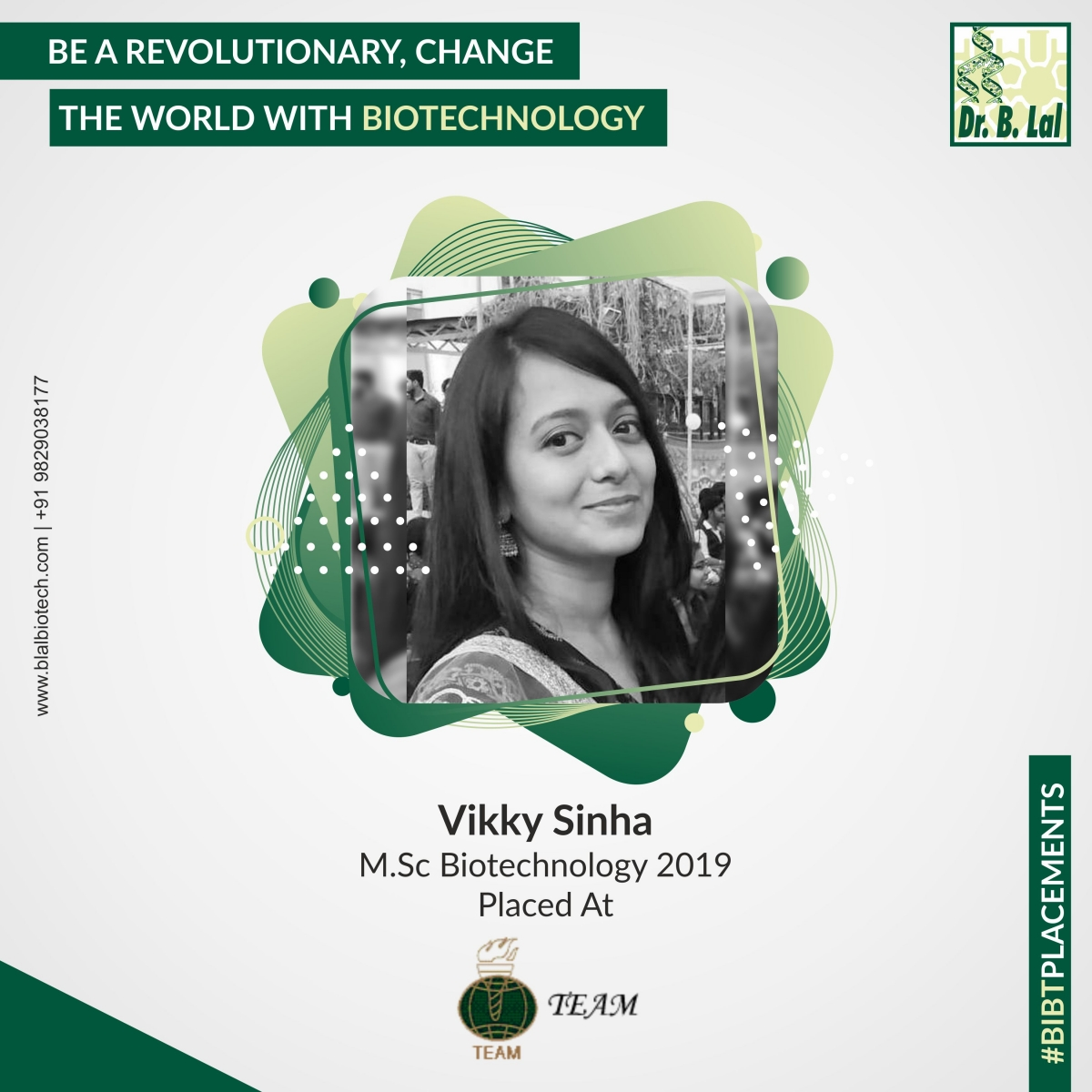 Vikky Sinha, M.Sc. Biotechnology 2019 | #BIBTPlacements