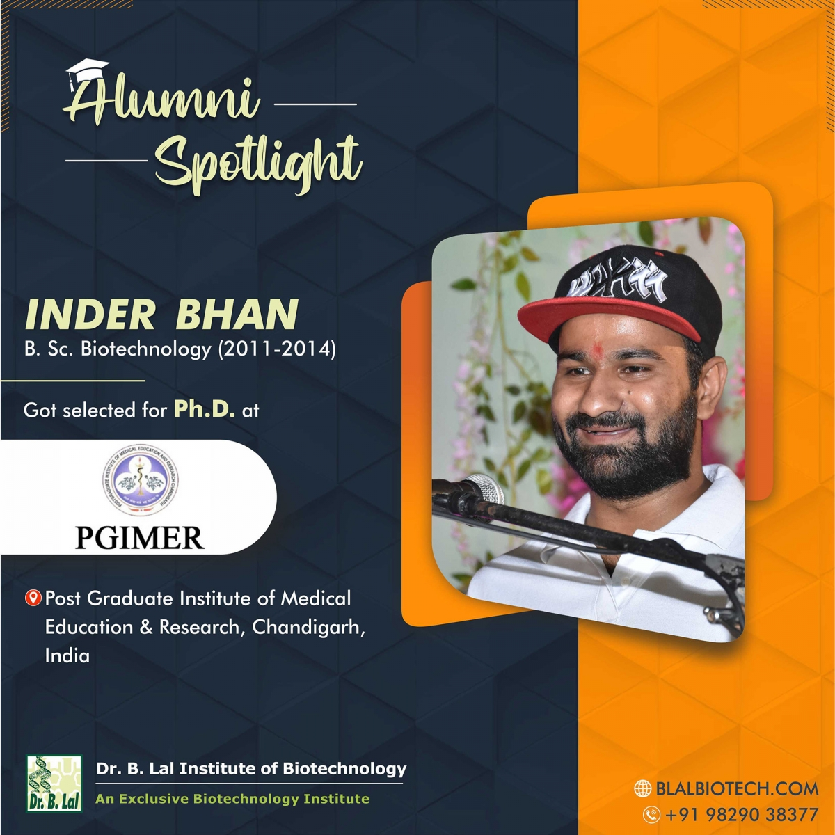 Mr. Inder Bhan | Selected for Ph.D. at Post Graduate Institute of Medical Education and Research, Chandigarh, India